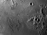 Rima Hyginus and Crater Hyginus midway